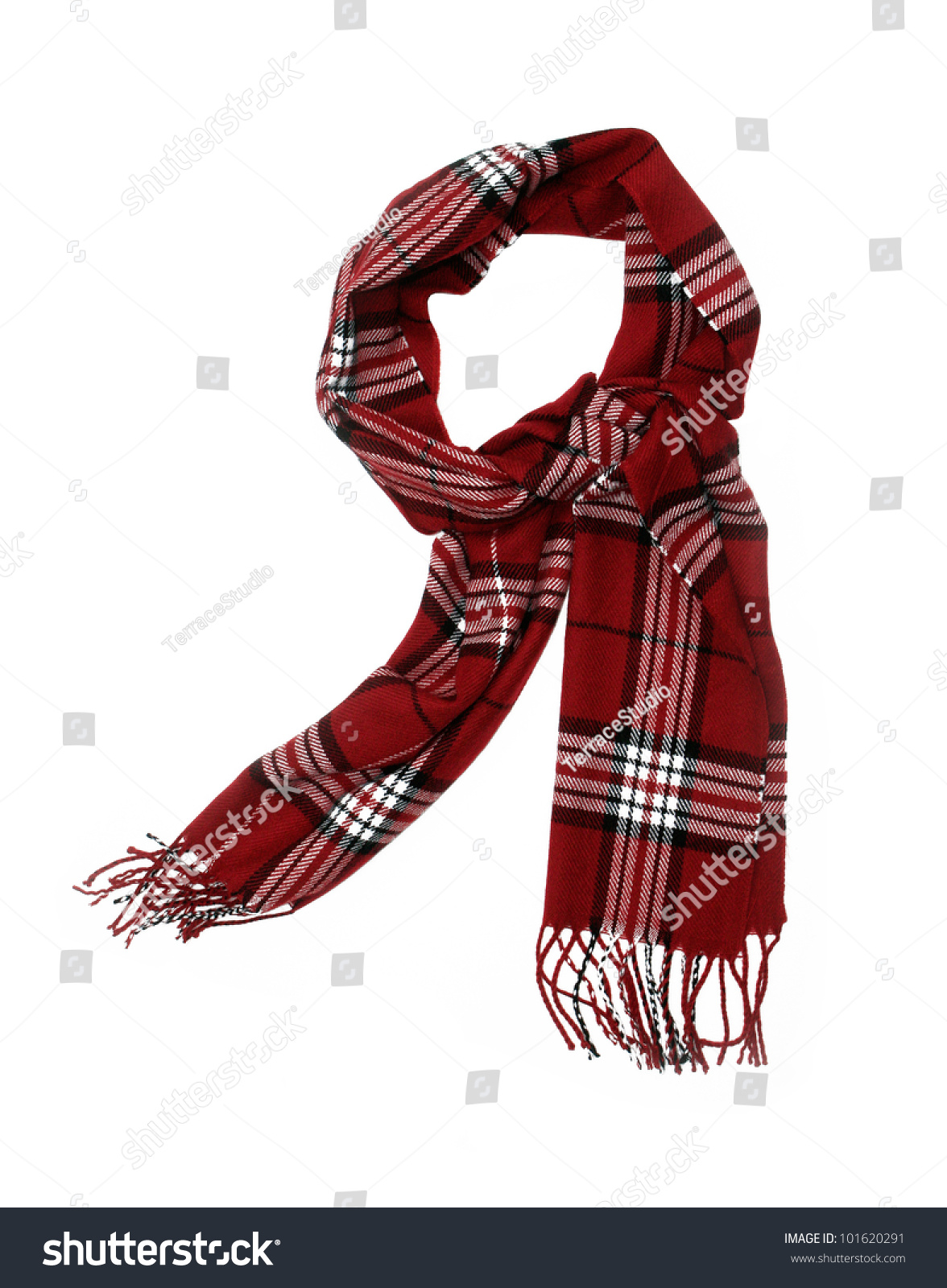 Unisex Cashmere Wool Red Plaid Scarf Stock Photo 101620291 ...