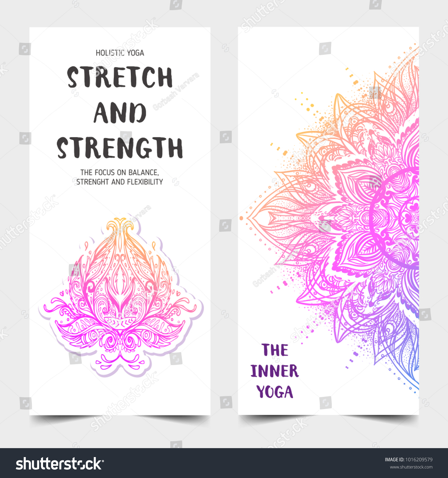 Stretch Strength Yoga Card Design Colorful Stock Vector 1016209579 ...
