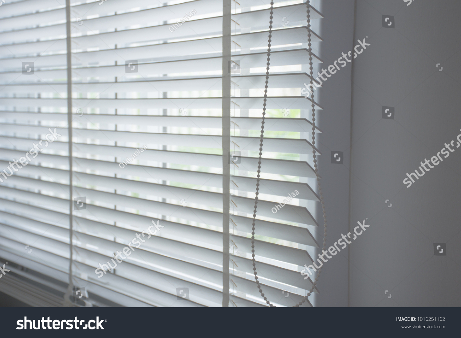 White Curtain Wooden Blinds Window Home Stock Photo Edit Now 1016251162