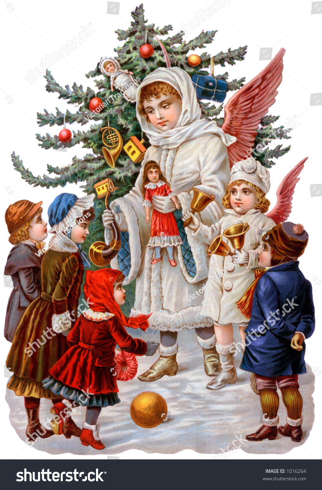 Victorian Illustration Christmas Angels Giving Gifts Stock Photo ...