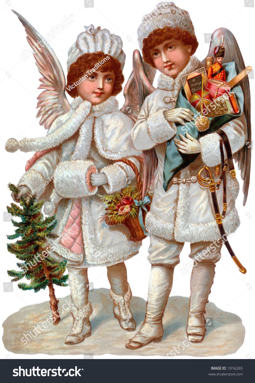 Victorian Illustration Christmas Angels Gifts Circa Stock Photo ...
