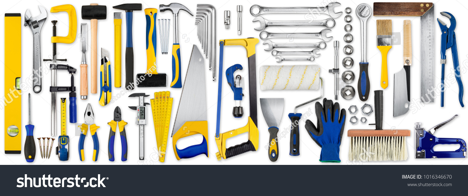 huge set collection of yellow blue and wooden diy hand tools isolated on white background #1016346670