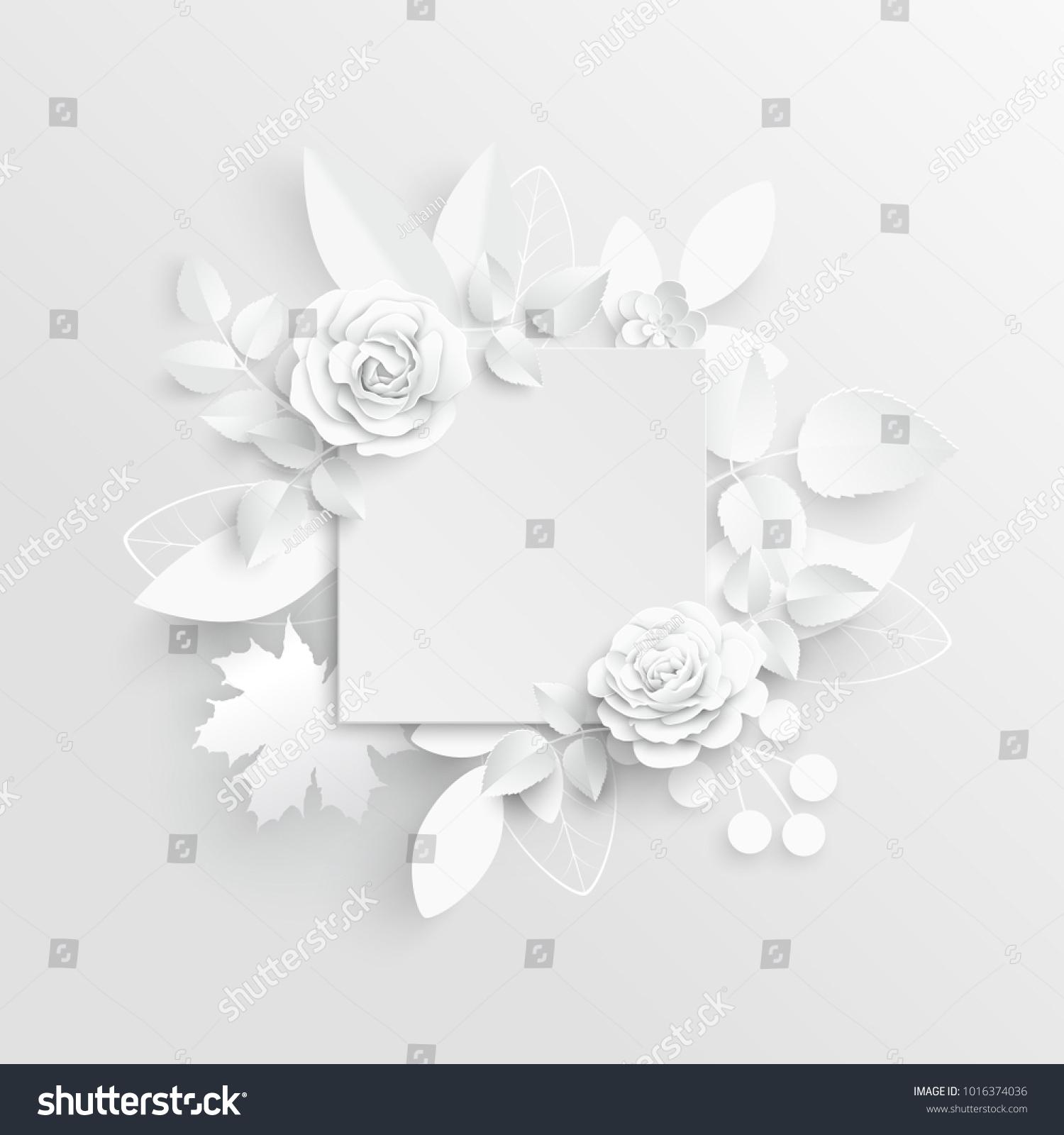 Paper Flower Frame White Rose White Stock Vector Royalty Free