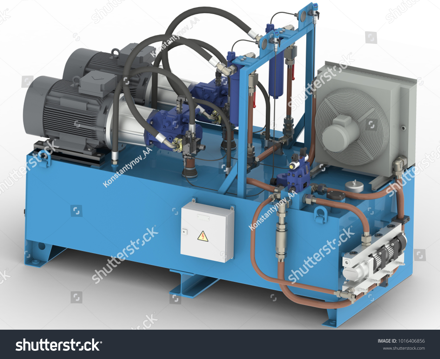 Hydraulic Pump Station High Pressure Air Stock Illustration ...