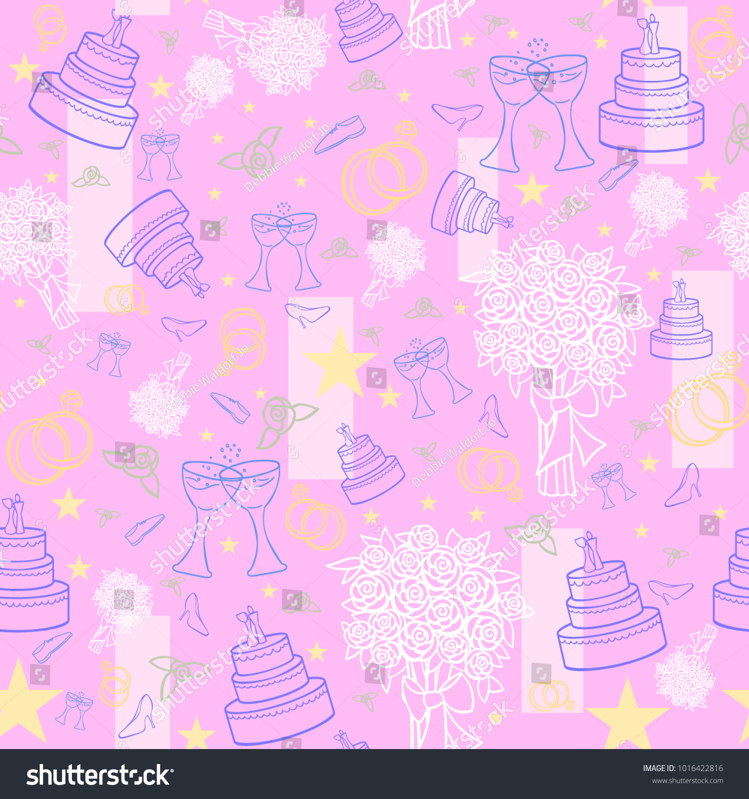 Seamless Pattern Wedding Cake Rings Pink Stock Vector (Royalty Free ...