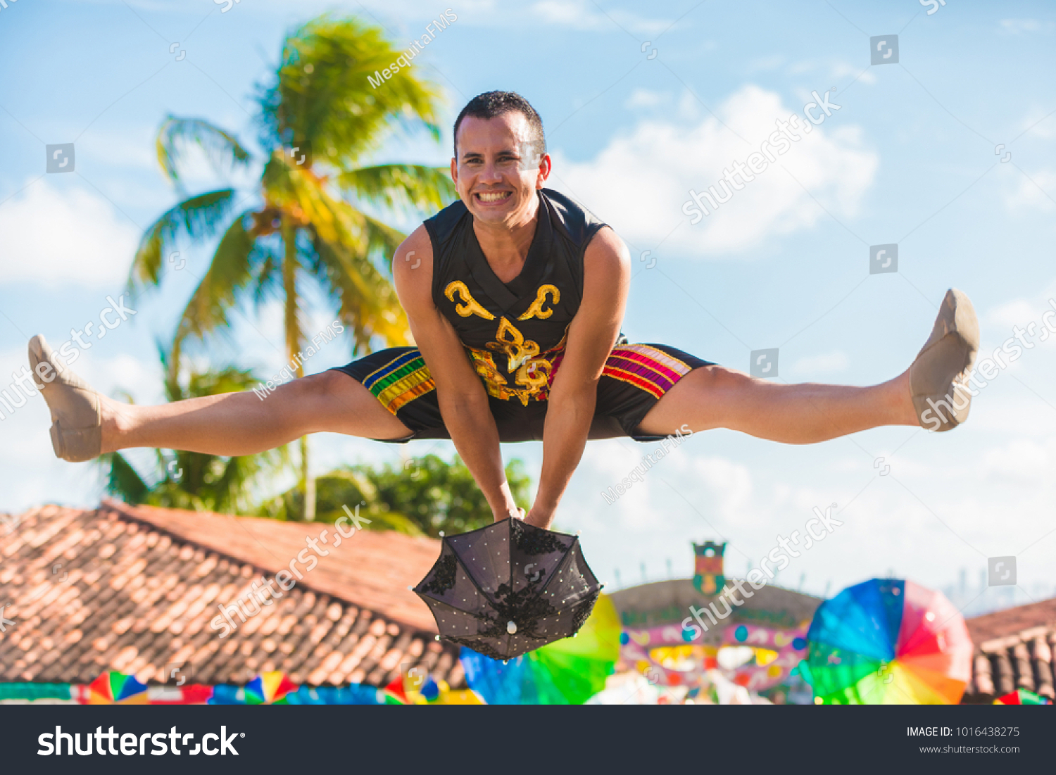 Brazilian Carnival Man Wearing Carnival Costumes Stock Photo