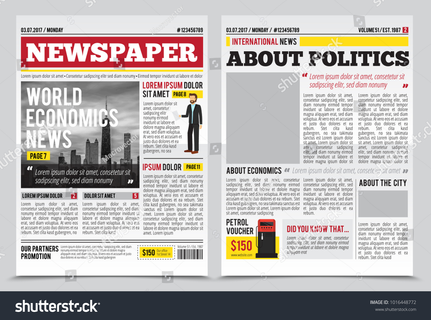 Daily Newspaper Journal Design Template Twopage Stock Illustration