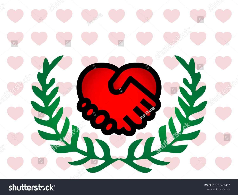 Illustration Concept Art Red Handshake Heart Stock Illustration