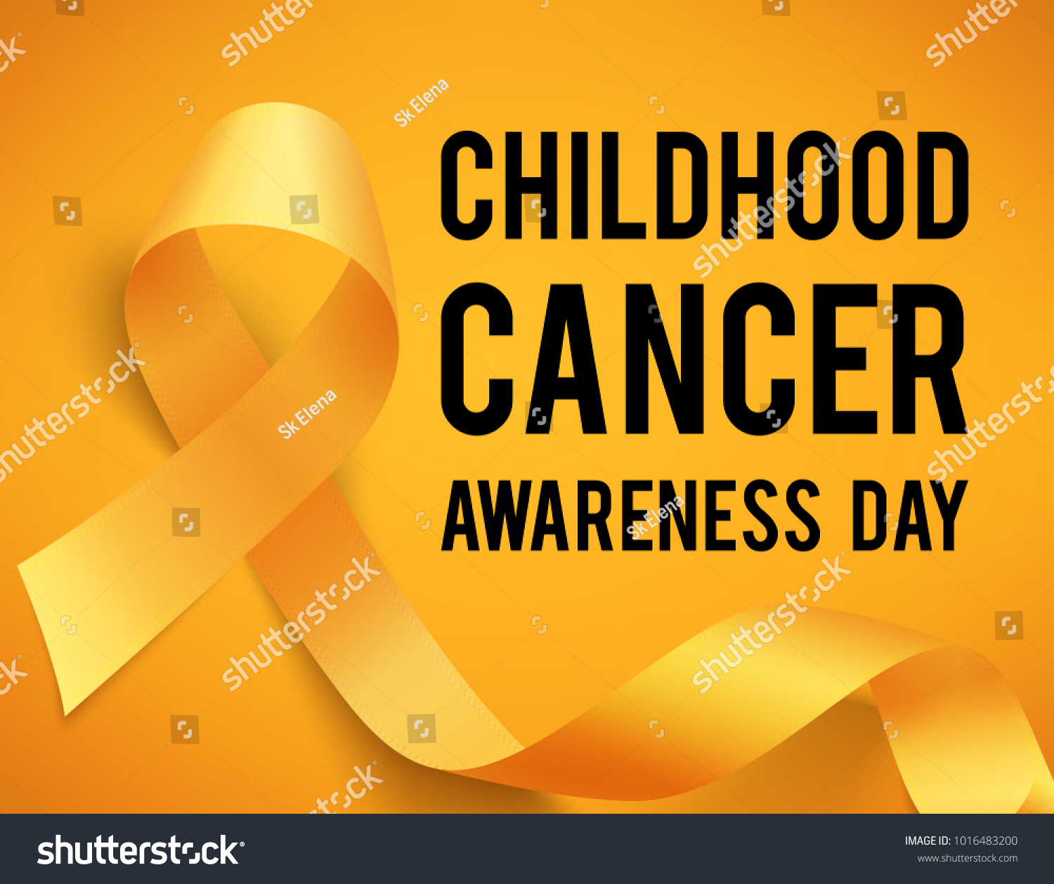 Poster childhood cancer awareness day symbol stock vector 1016483200 poster for childhood cancer awareness day with symbol realistic yellow ribbon vector illustration buycottarizona Images