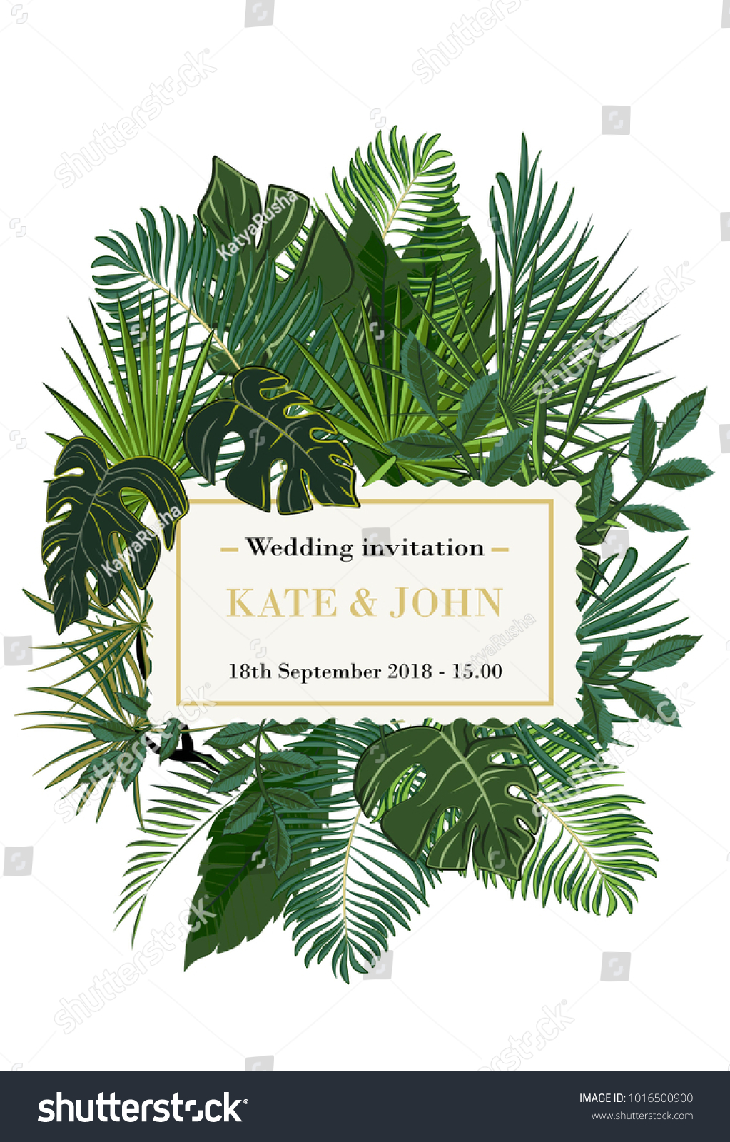 Wedding invitation background tropical leaves vector stock vector wedding invitation background with tropical leaves vector stopboris Images
