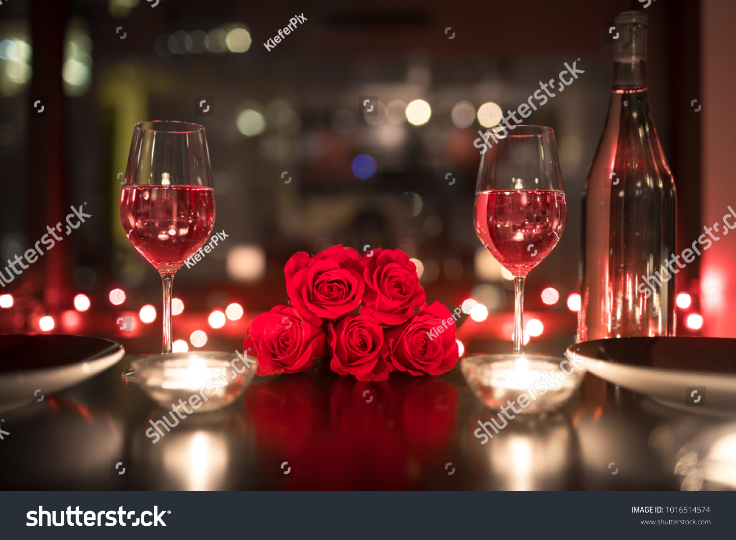 Romantic Candle Light Dinner Date Setting Stock Photo Edit Now 1016514574