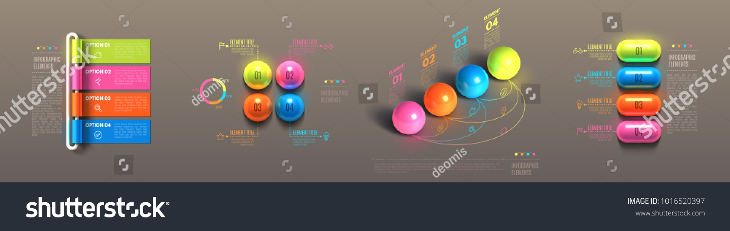 Business infographic template set. Glossy plastic rolled paper, balls, pills. Banner steps, choice chart, cycle, data options, sequence, choice award. 3d realistic Vector Illustration. #1016520397