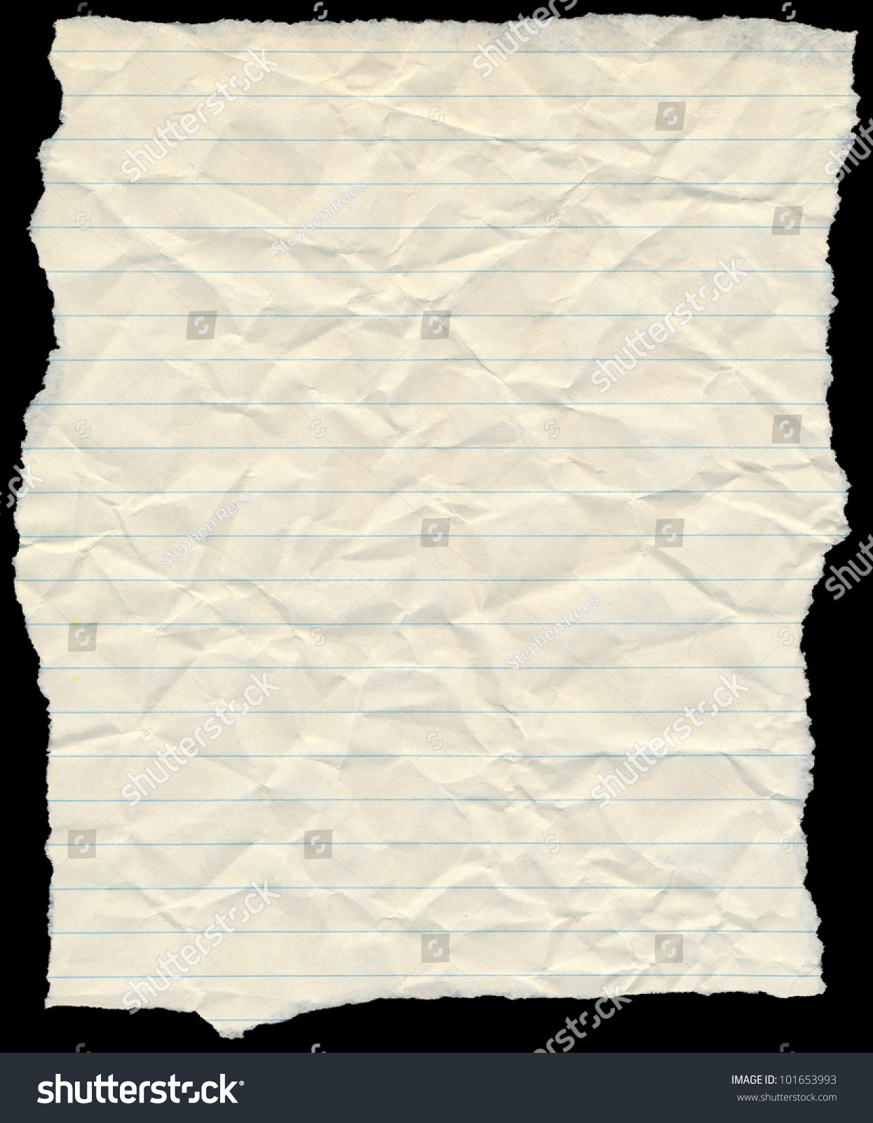 old yellowing crumpled lined paper torn stock photo (edit now