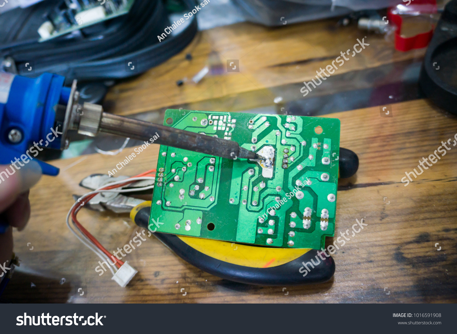 Repair Electronic Circuit Board Soldering Iron Stock Photo Edit Now The With And Fix It By