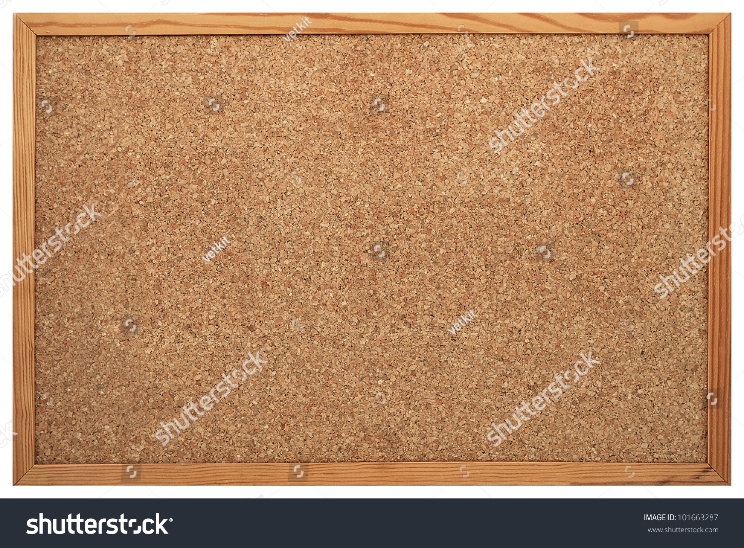 blank cork board with wooden frame isolated