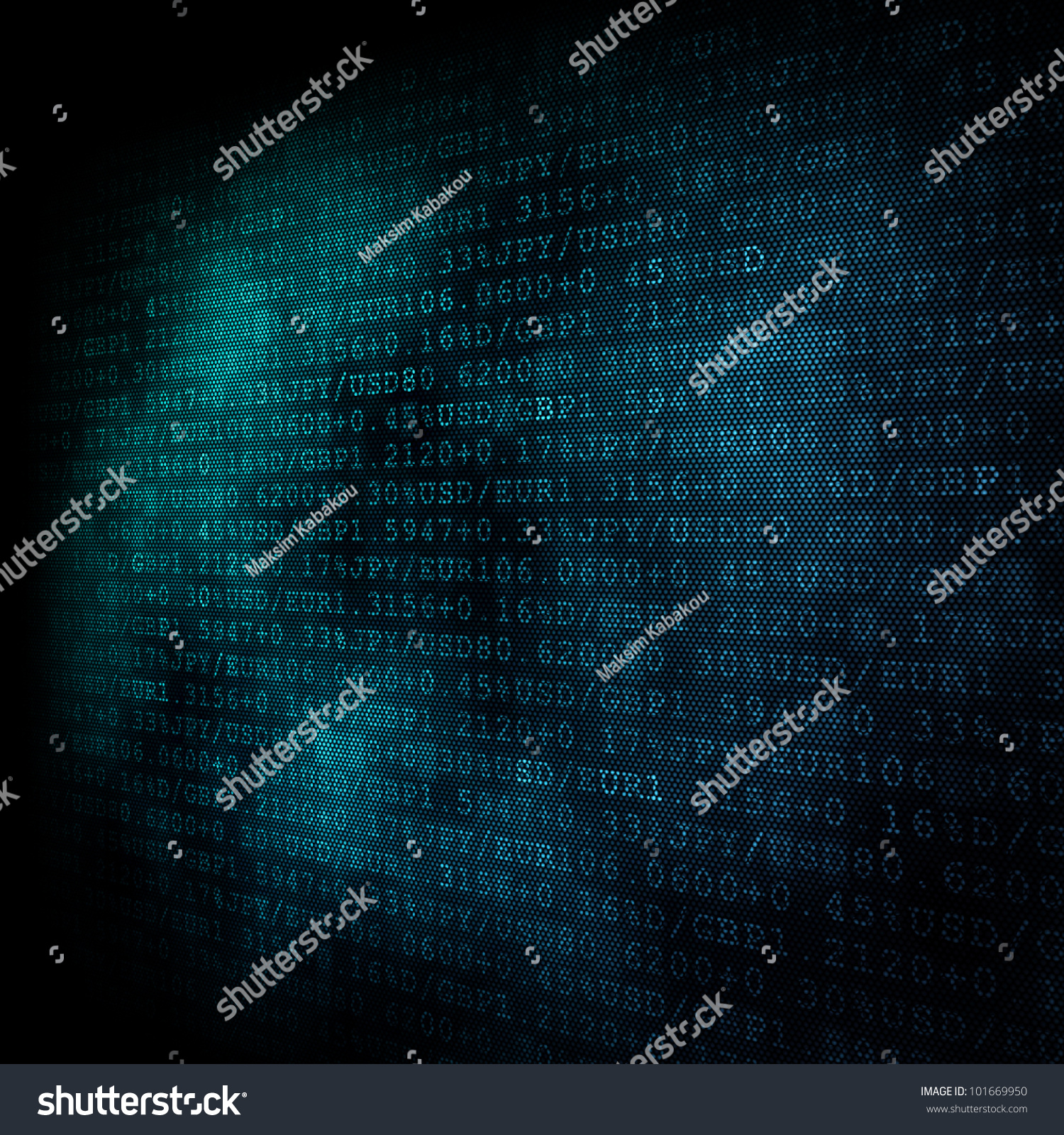 Finance Background: Pixeled Financial Background On Digital Screen Stock