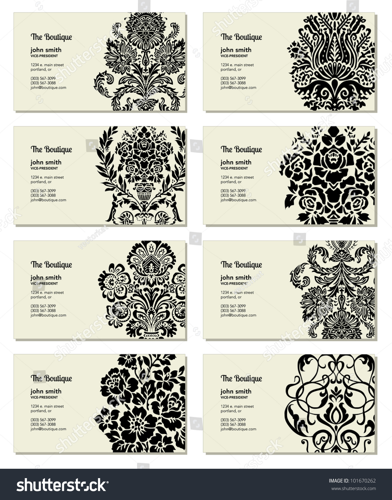 Vector Victorian Business Card Set Easy Stock Vector (2018 ...