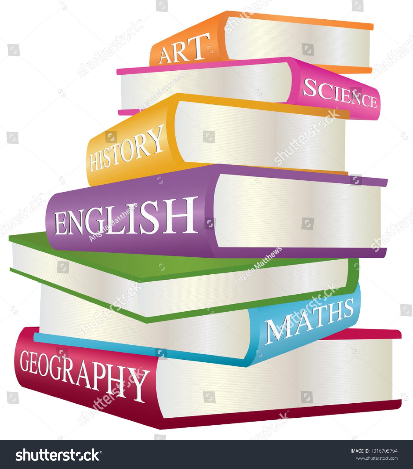 Stack Books School Subjects Art Science Stock Vector 1016705794 ...
