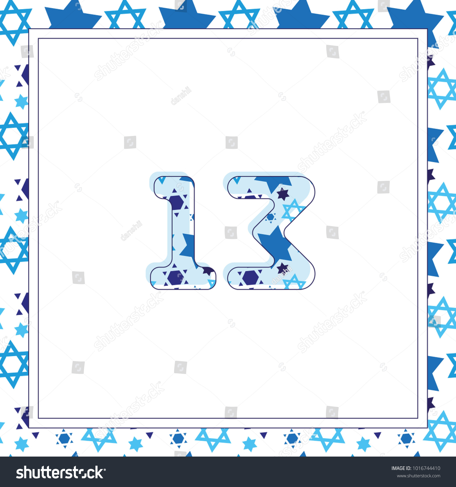 Jewish bar mitzvah invitation card template stock vector jewish bar mitzvah invitation card template 13 thirteen birthday star of david seamless pattern background biocorpaavc Gallery
