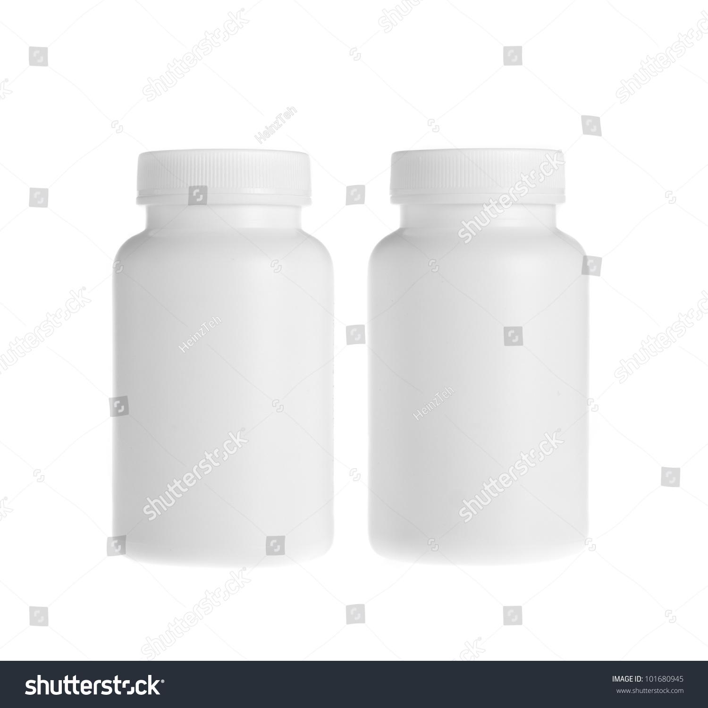 white pill bottle on white background stock photo