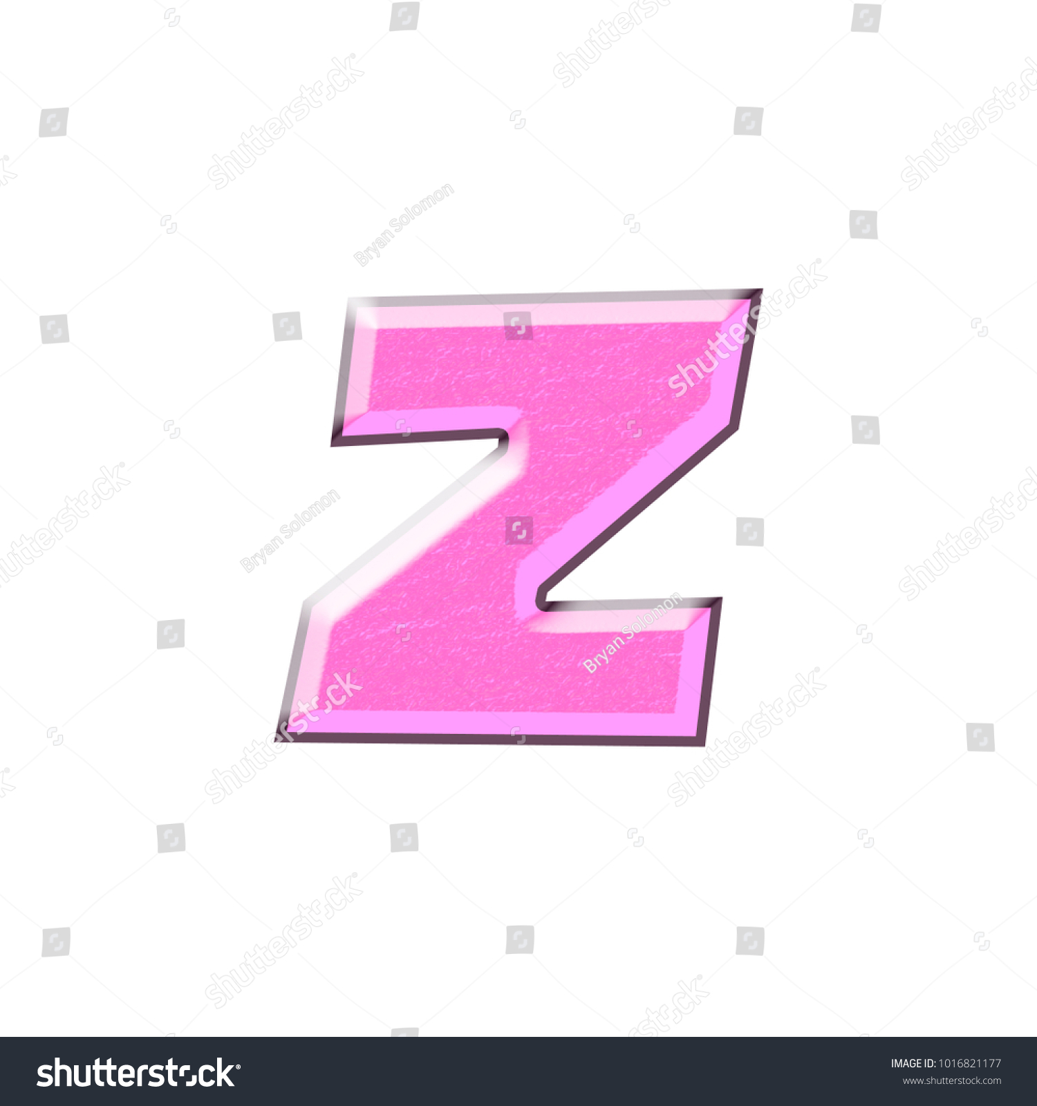 Silky shiny purple color lowercase or small letter Z in a 3D ...
