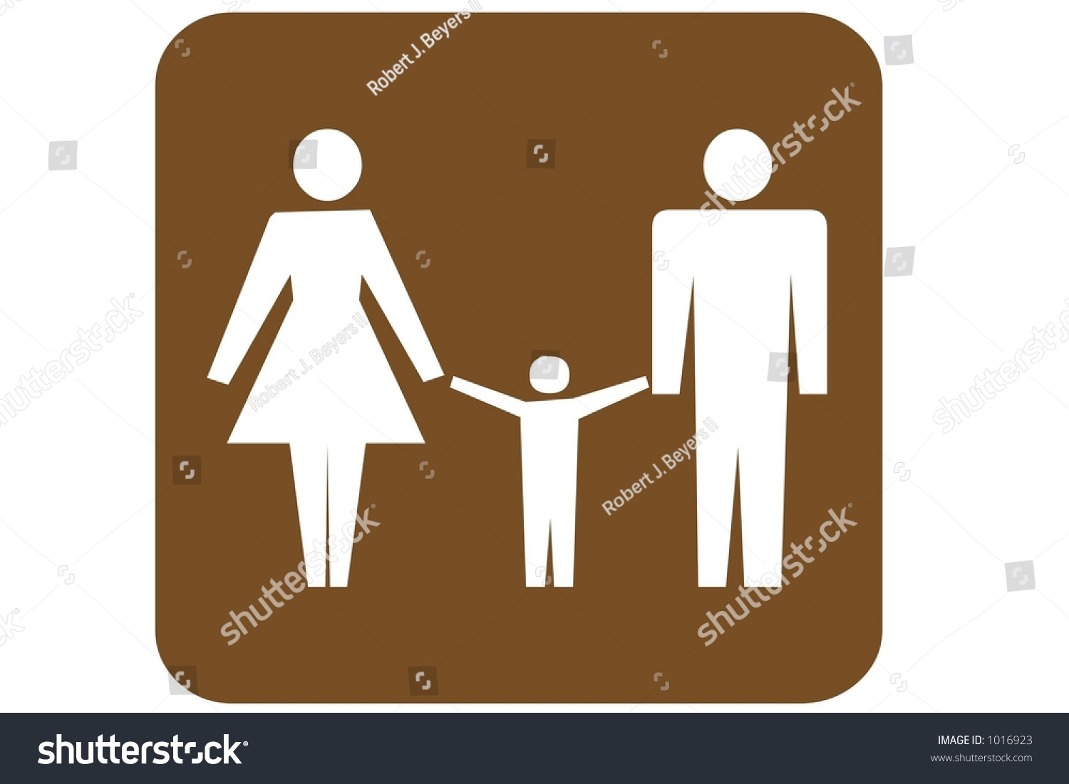 Brown Square US Parks And Recreation Sign containing the international  symbol for a family restroom isolated. Brown Square Us Parks Recreation Sign Stock Illustration 1016923