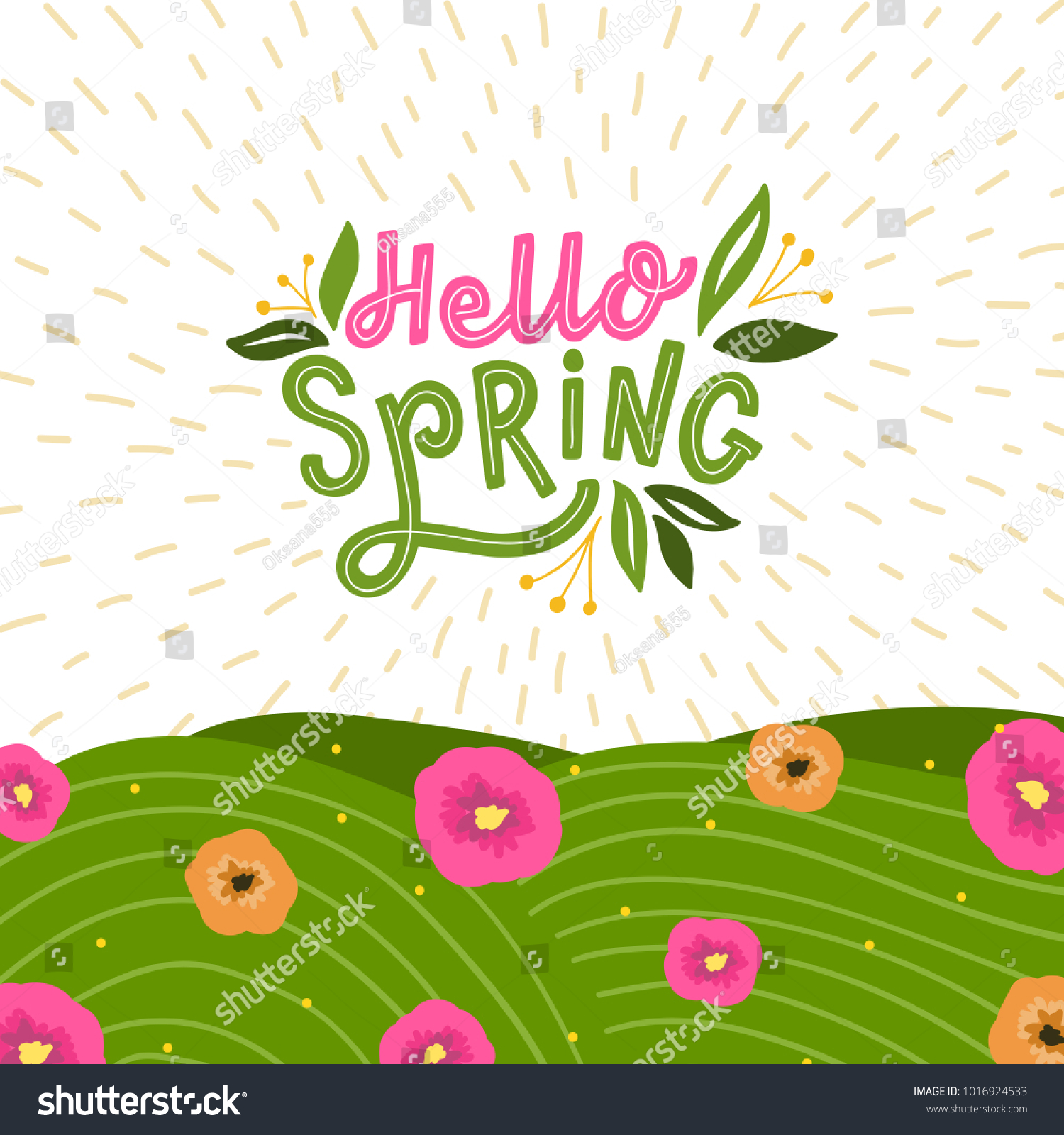 Background Hand Drawn Lettering Hello Spring Stock Vector Royalty