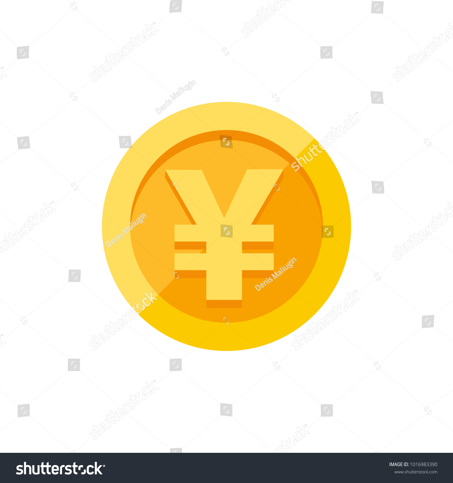 Chinese yuan japanese yen currency symbol stock vector 1016983390 chinese yuan or japanese yen currency symbol on gold coin money sign flat style vector buycottarizona