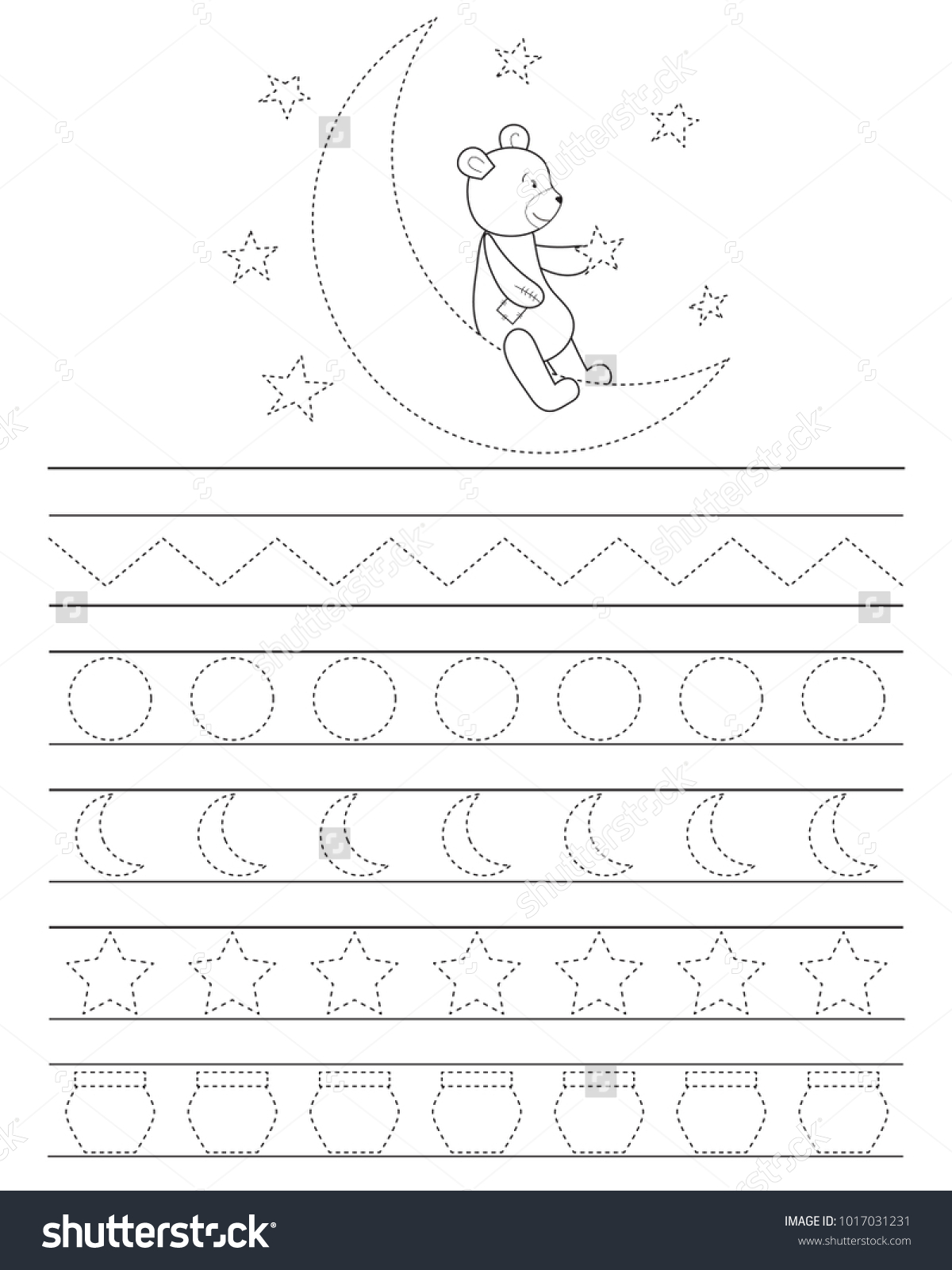 Handwriting Practice Sheet For Kids Good Night Teddy Bear Printable Worksheet Coloring Page