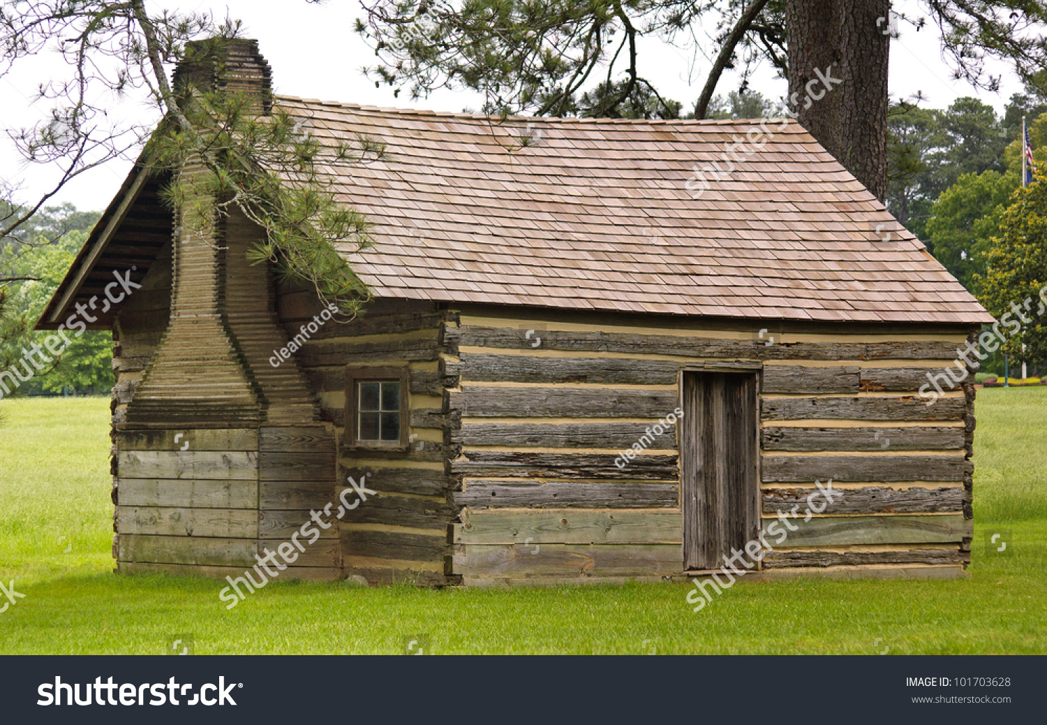 Classic one room schoolhouse log cabin stock photo for Single room log cabin