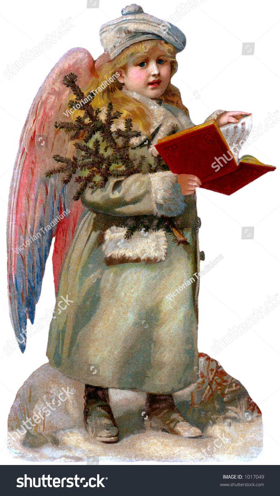 Victorian Christmas Illustration Child Guardian Angel Stock Photo