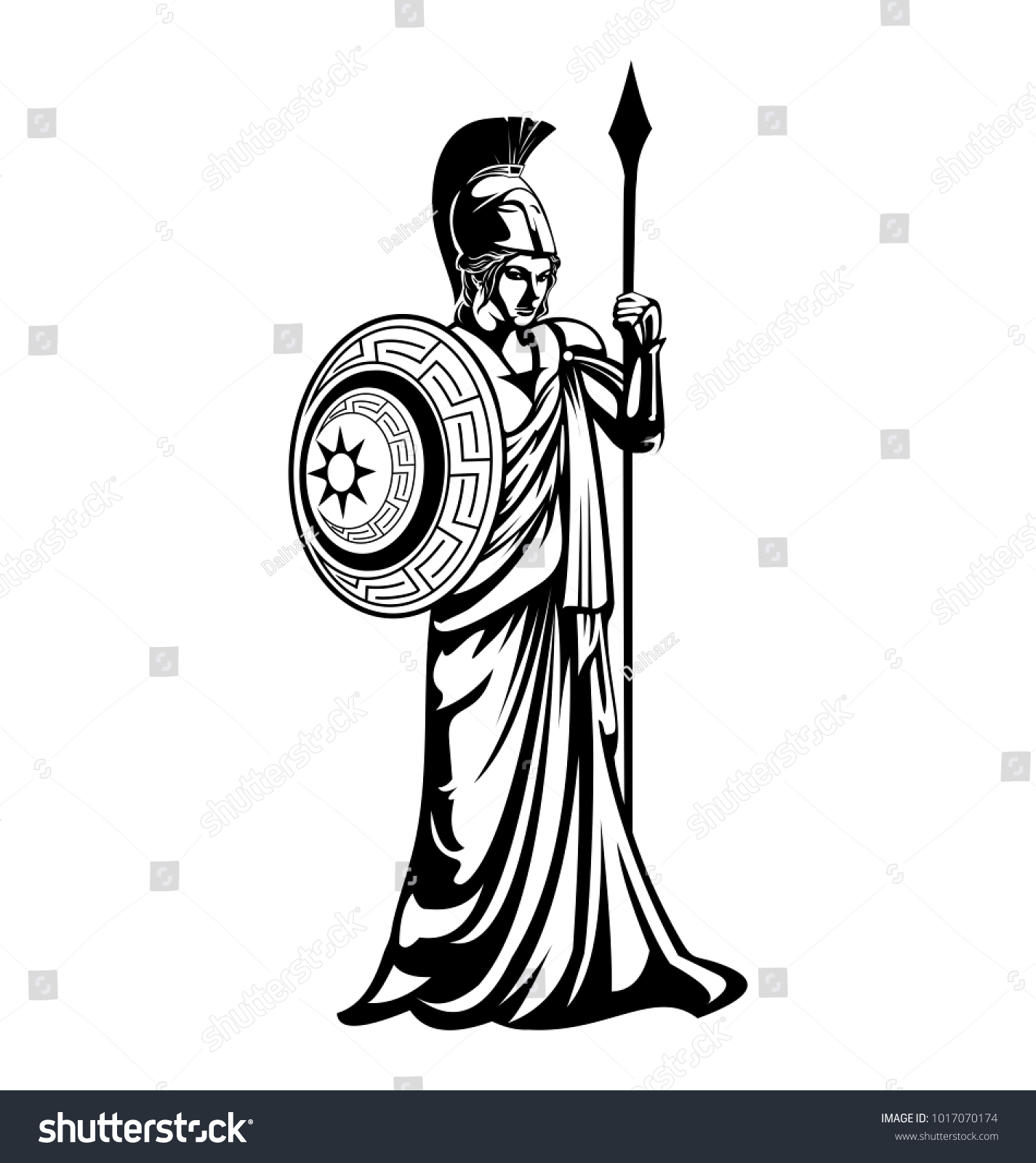 Greek Goddess Athena Illustration Vector Template Stock Vector