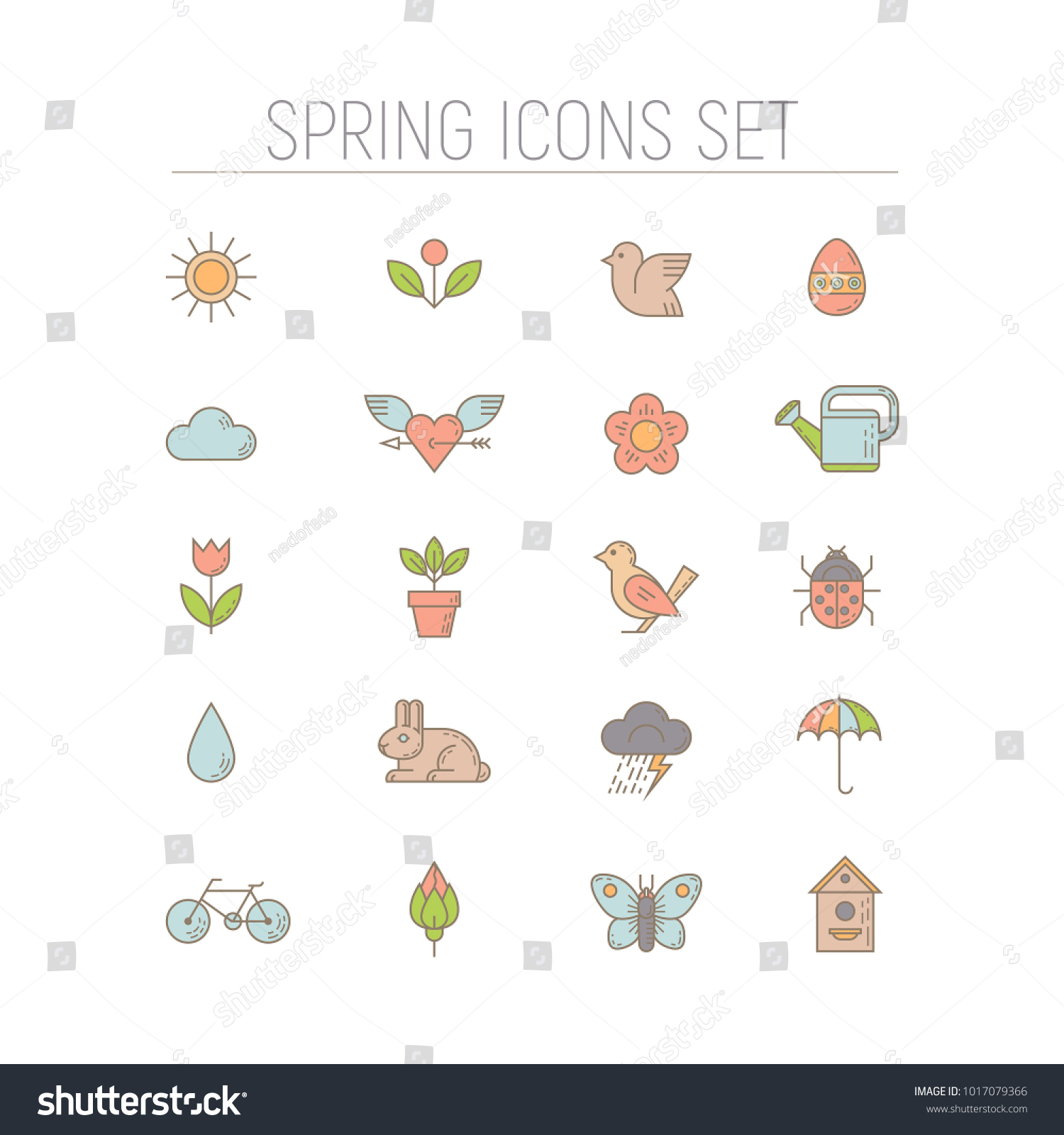spring icons set collection simple linear stock vector (royalty free)  1017079366  shutterstock