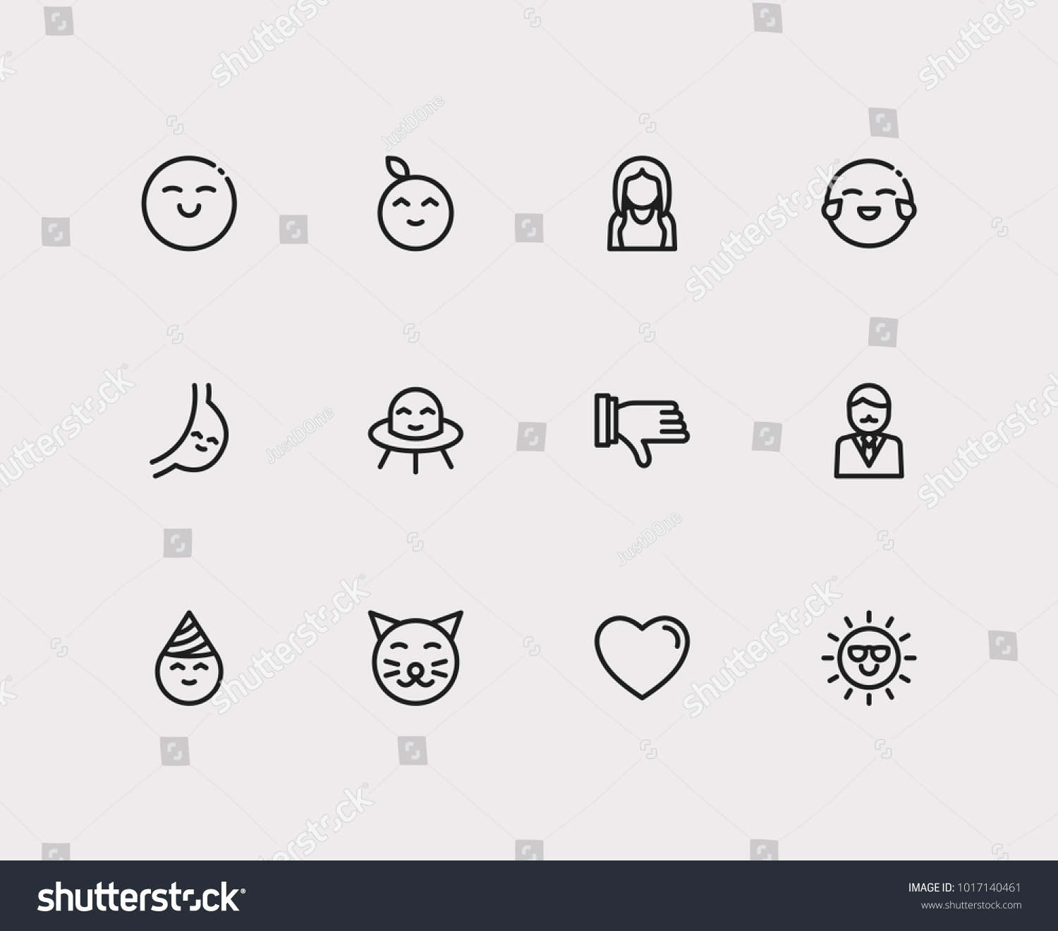Emoji Icons Set Business Cartoon Cute Stock Vector Royalty Free