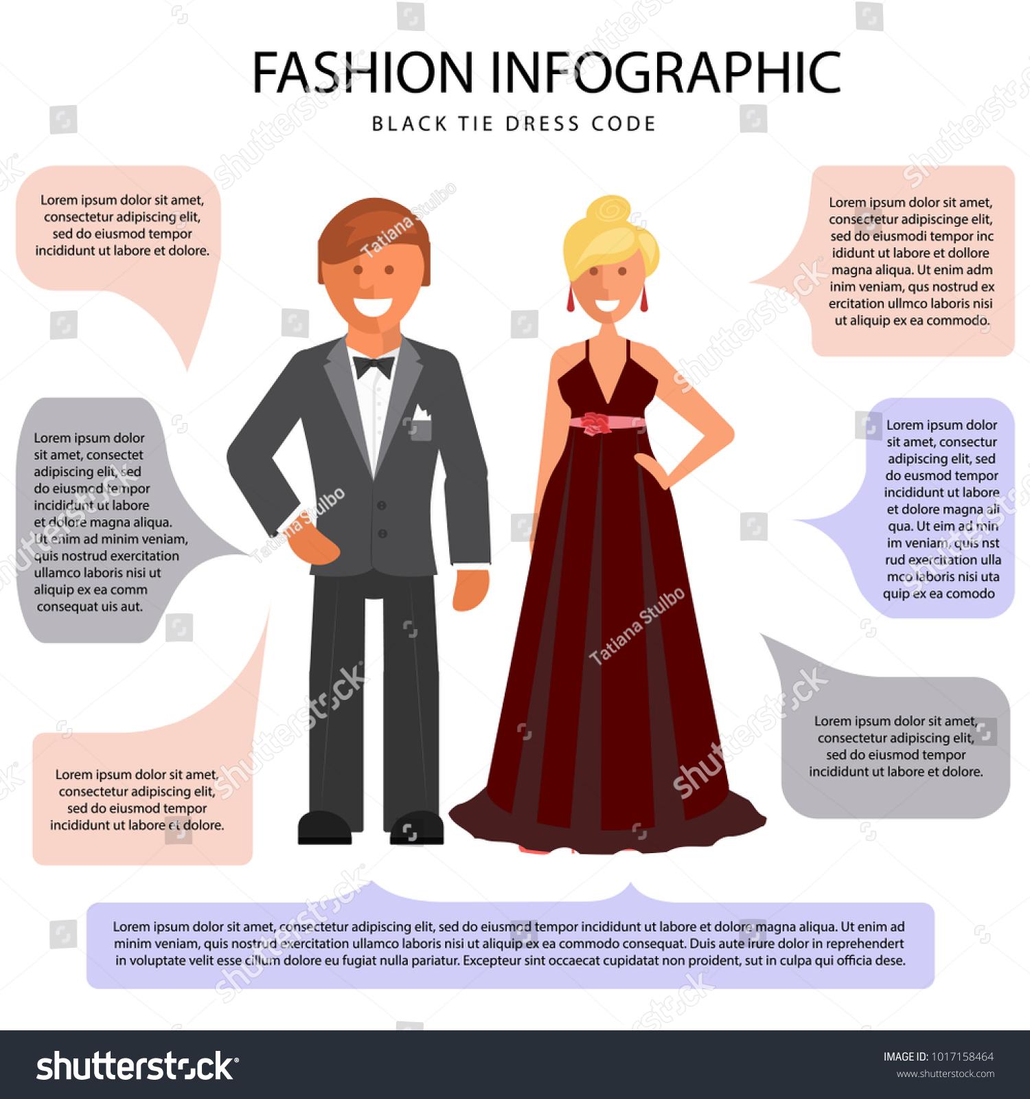 Black Tie Dress Code Infographic Man Stock-Vektorgrafik 1017158464 ...