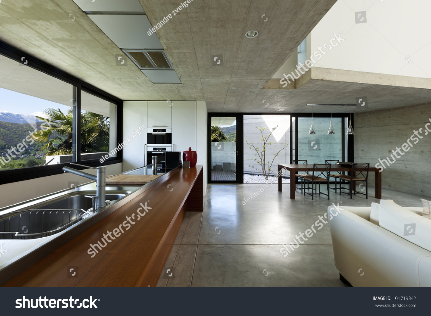 Beautiful modern house in cement interior open space for Open space inside a building