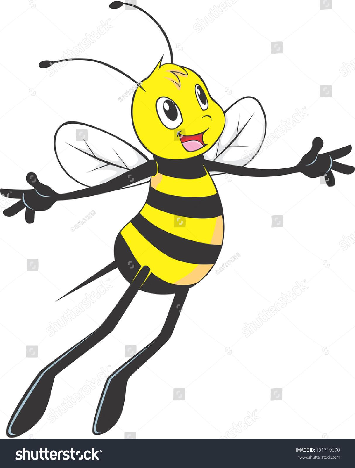 happy bee flying happy be free stock vector 101719690 shutterstock