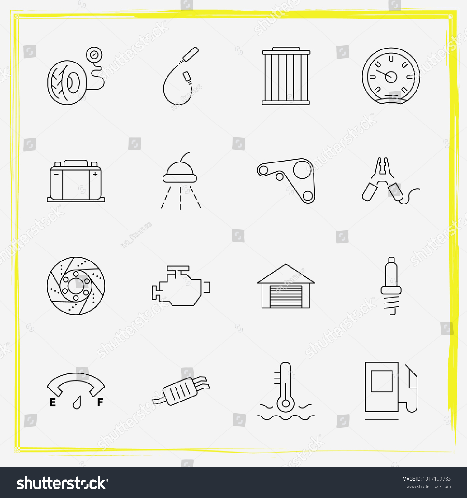 Auto Parts Line Icon Set Spark Stock Vector Royalty Free Plug Wiring Diagrams Automotive Wire Simple Windshield And Tail Pipe