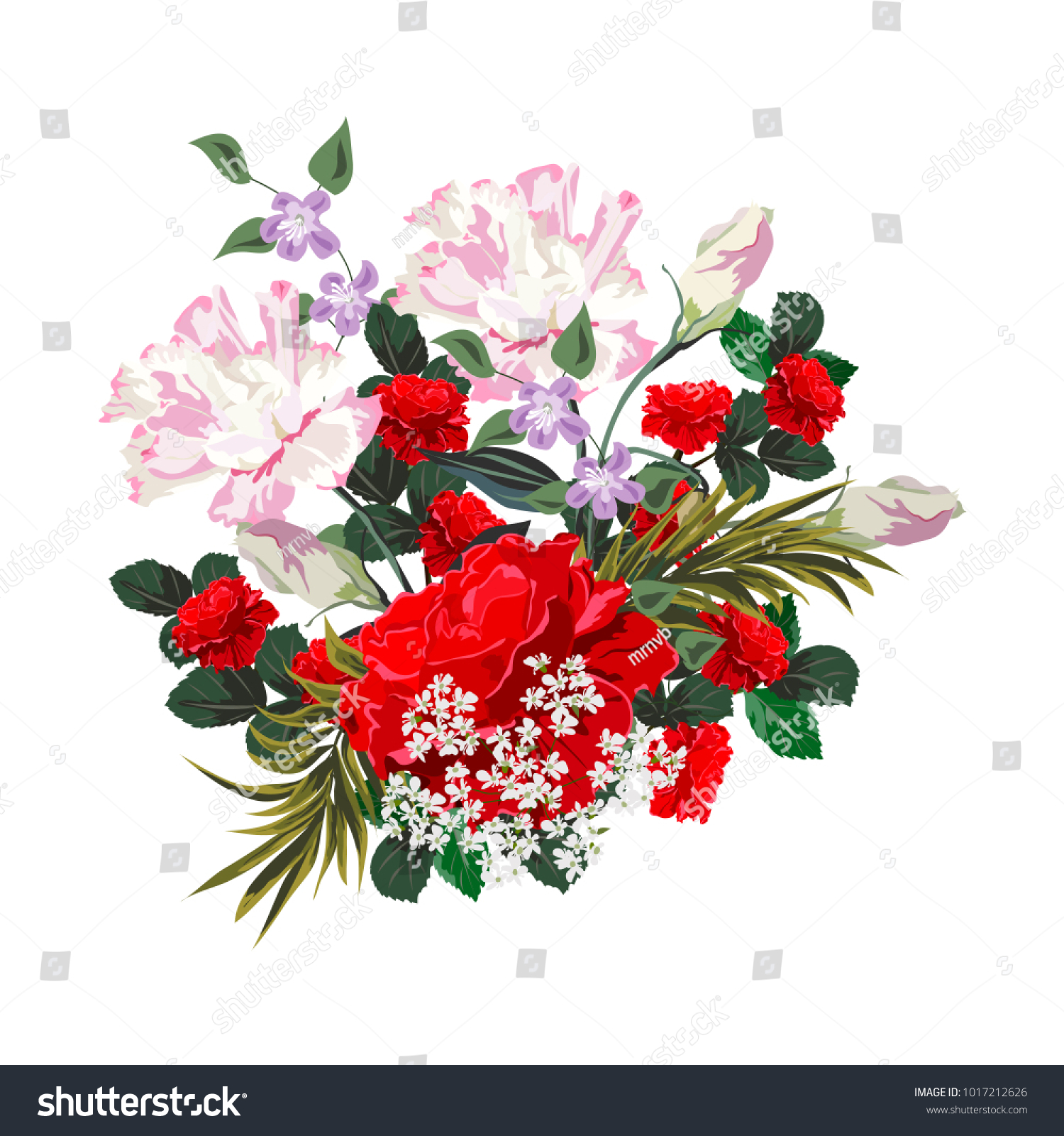 Bouquet of red roses. Decor elements for greeting cards, wedding ...