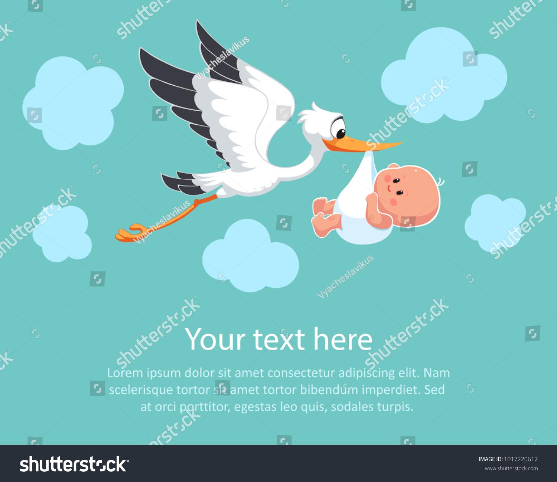 Cartoon Stork Sky Baby Design Template Stock Vector (2018 ...