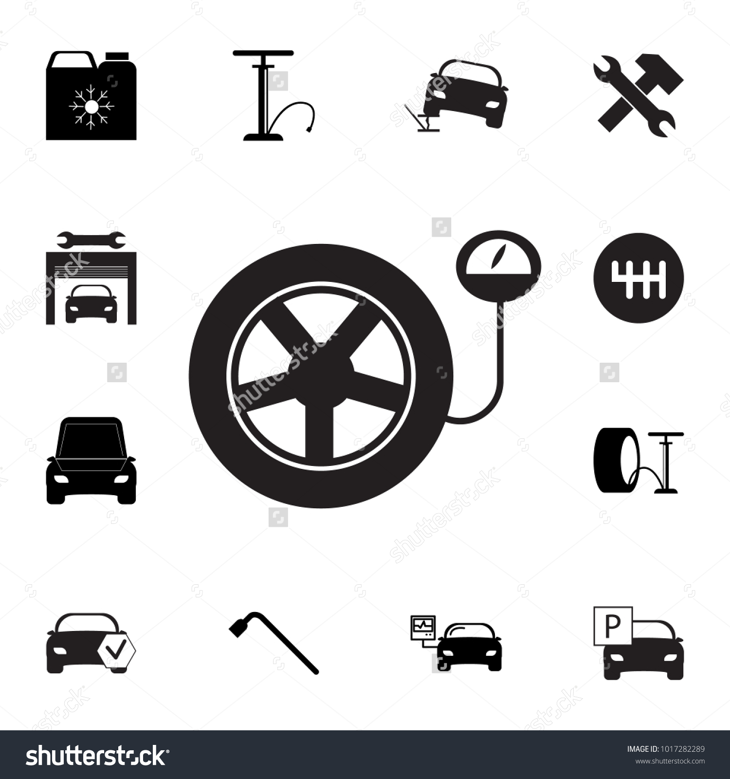 Tire Pressure Gauge Car Wheel Manometer Stock Vector 1017282289 ...