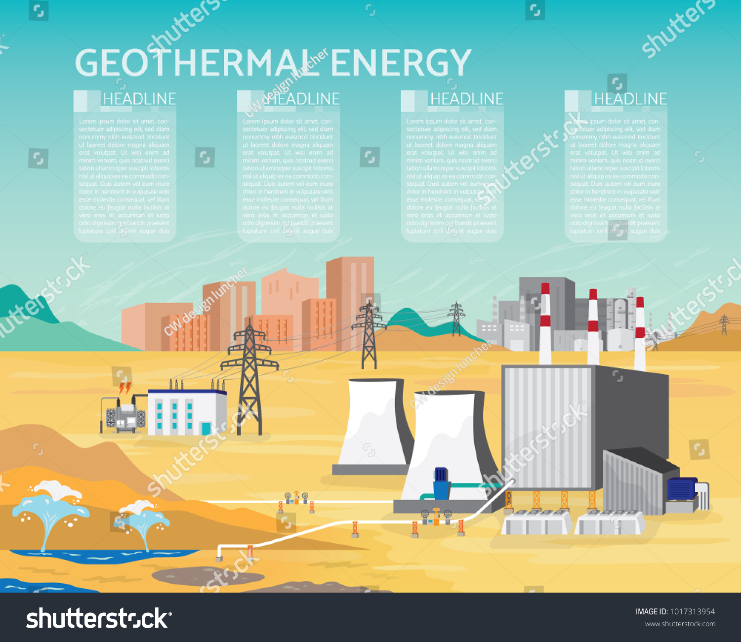 Geothermal Energy Geothermal Power Plant Boiler Stock Vector ...