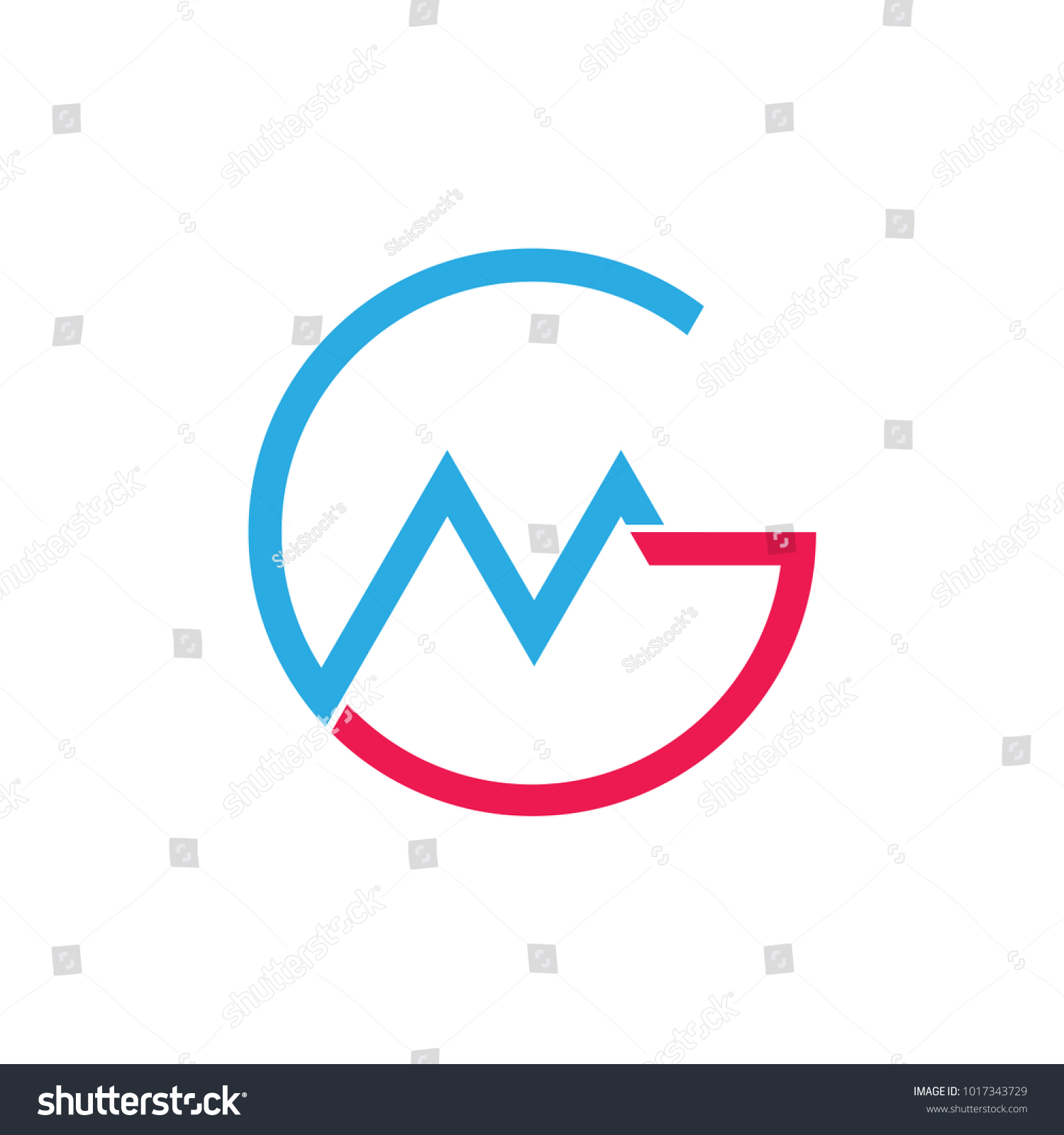 Abstract Letters Gm Mountain Chart Symbol Stock Vector Royalty Free