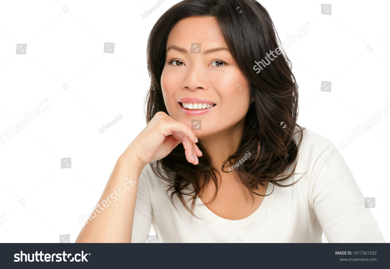middle aged asian mature woman smiling stock photo (safe to use
