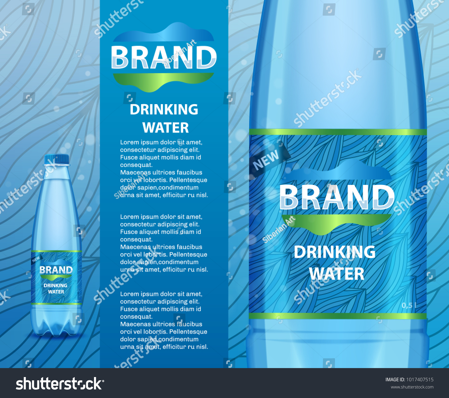 Vector realistic illustration drinking water plastic stock vector vector realistic illustration of drinking water plastic bottle with label mockup template transparent mineral water maxwellsz