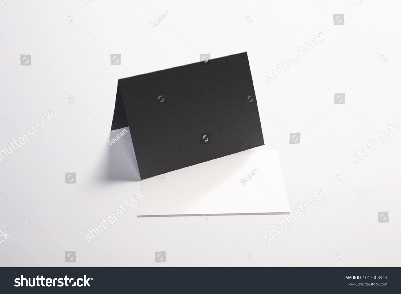 Blank White Invitation Greeting Cards Isolated Stock Illustration