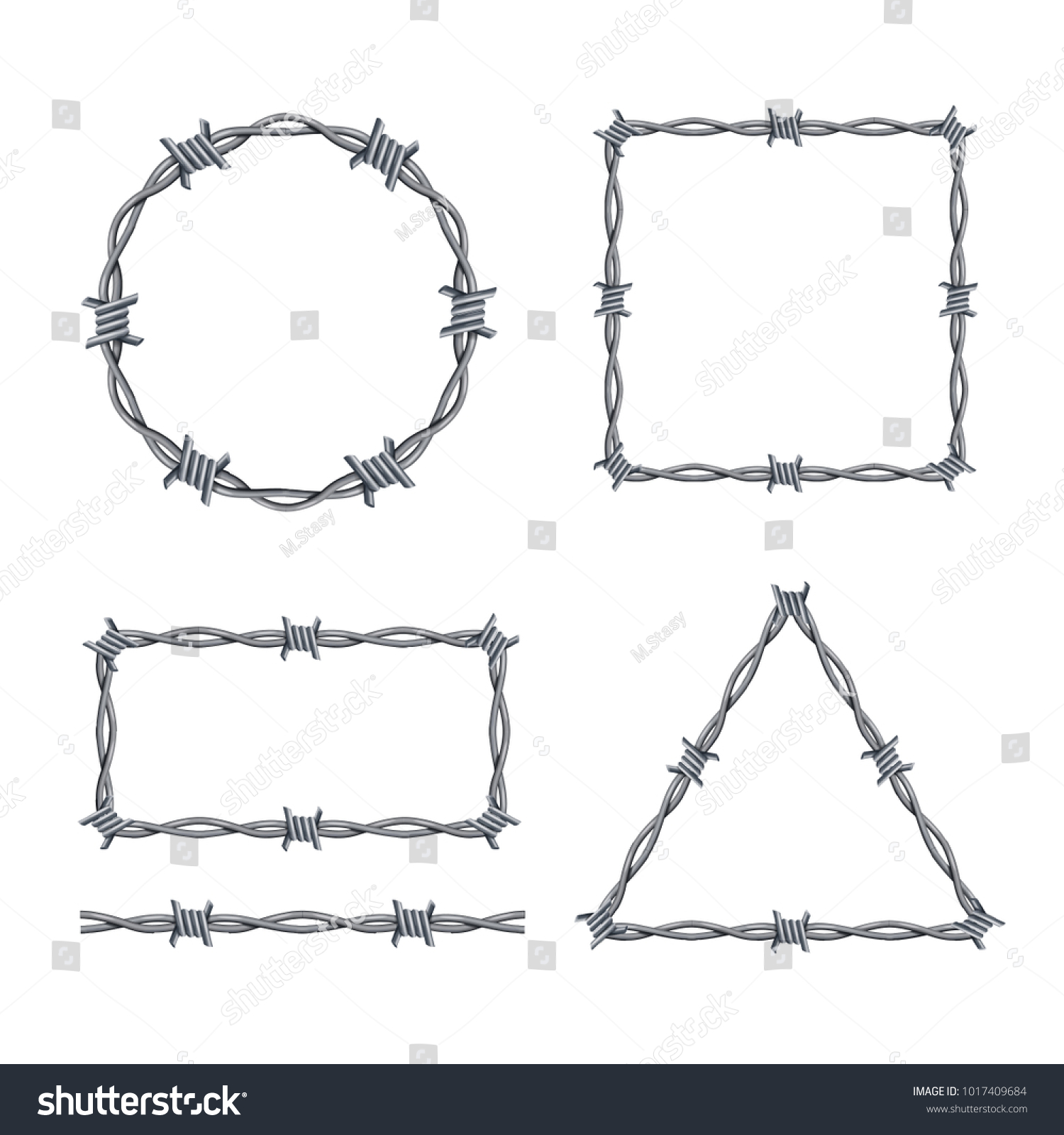 Realistic 3 D Detailed Barbed Wire Frames Stock Vector Royalty Free Wiring Diagram 3d Set Different Types Geometric Figures Include Of Triangle And Rectangle
