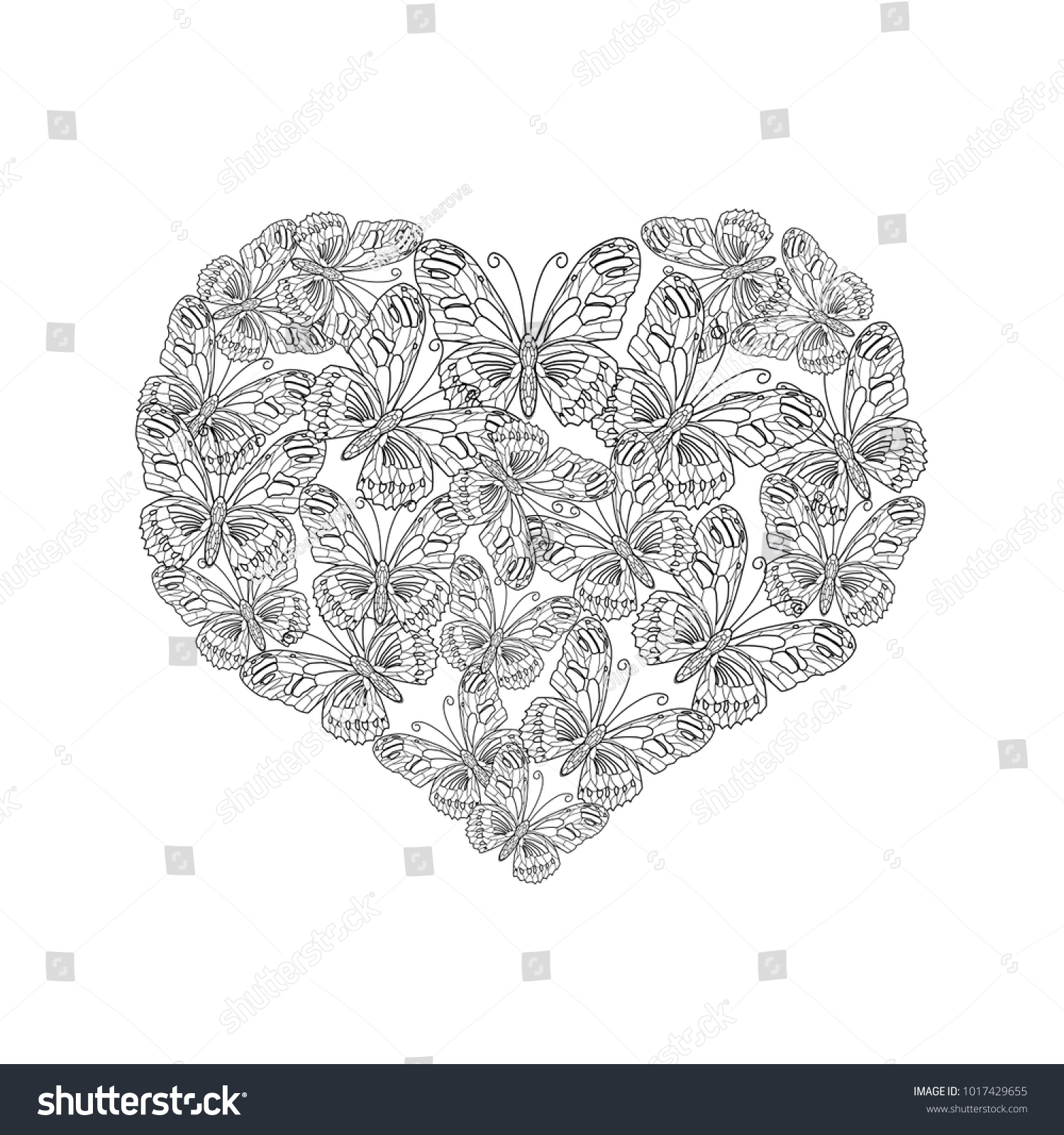 illustration of heart shape from black and white butterfly. Coloring ...