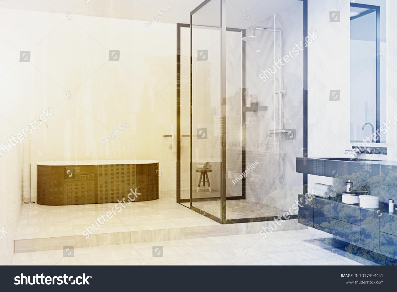 White Bathroom Interior Tiled Floor Gray Stock Illustration ...