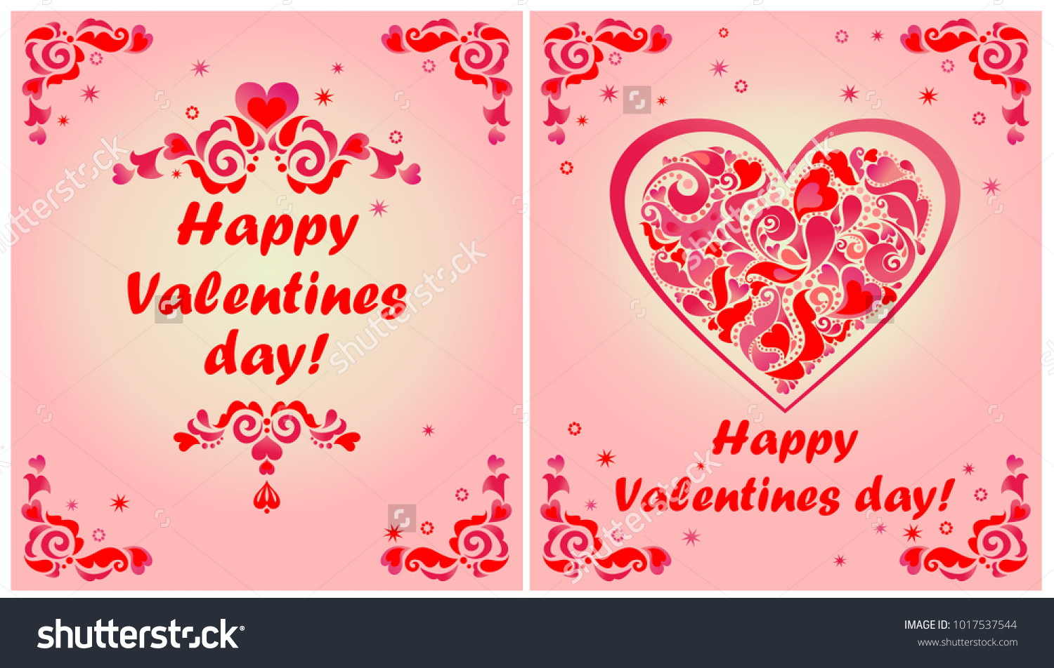 Greeting cards valentines day red floral stock vector 1017537544 greeting cards for valentines day with red floral decorative borders and heart shape kristyandbryce Image collections